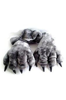 Mirage-Shop ถุงมือและผ้าพันคอ แฟนซีสัตว์เหมือนจริงขนนุ่ม หมาป่า - สีเทา
