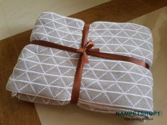 Nampet Shop ผ้าห่ม European cotton jacquard knitting blanket ขนาด 130x160 cm. (Gray)