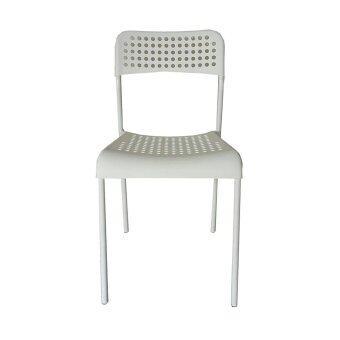 NK Furniline เก้าอี้นั่ง รุ่น NK Chair-LWh (โครงเหล็กสีขาว-เบาะสีขาว)