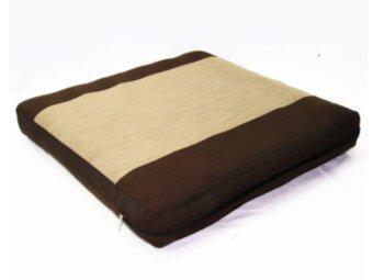 เบาะรองนั่งผ้า ขนาด 45 x 45 cm. - สีน้ำตาลคาดครีม
