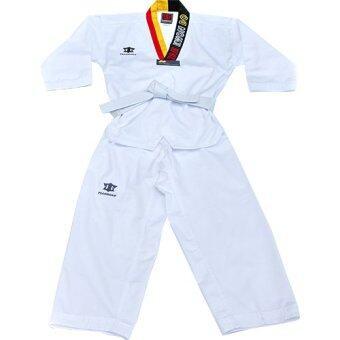 Peimm Modello Sport ชุดฝึกซ้อมเทควันโด ชุดกีฬา เสื้อและกางเกงขายาว สำหรับเด็ก ผ้าฝ้ายพิเศษ แถมฟรี ถุงผ้าใส่ชุดฝึกซ้อม สีดำ