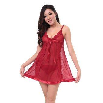 ชุดนอนเซ็กซี่ ซีทรู รุ่น846 สีไวท์แดง