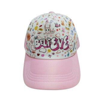 หมวกแฟชั่น ลาย believe ( สีชมพูอ่อน )