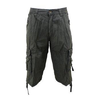 Hoosters กางเกงขาสั้น 3 ส่วน มีกระเป๋าข้างผ้าฟอก(สีเขียวแก่)
