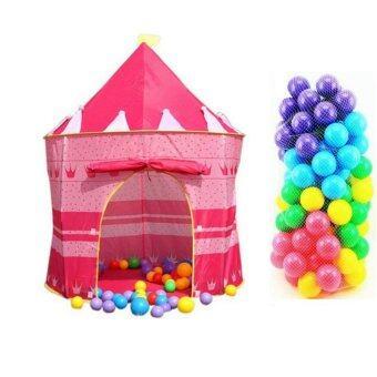 Lookmee Shop ปราสาทเจ้าหญิงสีชมพู + บอลหลากสี 100 ลูก