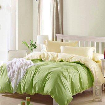 Sweet Kip ชุดผ้าปูที่นอน 6 ฟุต พร้อมผ้านวม 6 ชิ้น สีพื้น (สีเขียว/ครีม)