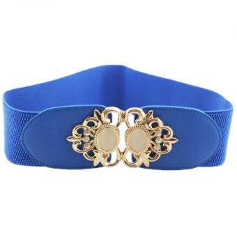 Opal Type Fashion Joker Elastic Waistband Metal Flower Cummerbund Wide Belt Lady's Girdle(Blue)