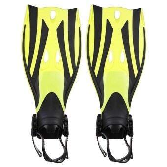 Pair of Wave Snorkeling Open Heel Fins Flippers - Size L/XL (Yellow) - Intl