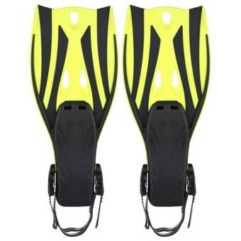 Pair of Wave Snorkeling Open Heel Fins Flippers - Size S/M (Yellow)
