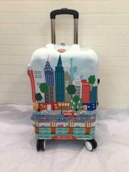 Mori ผ้าคลุมกระเป๋าเดินทาง ผ้ายืด Luggage cover Suitcase cover Spandex ลาย NYC (Size M) สำหรับกระเป๋าเดินทางไซส์ 22-26 นิ้ว