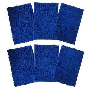 พรมเช็ดเท้ากักฝุ่นผ้านาโนตัวหนอน พื้นยางกันลื่น ขนาด 38x58 cm. สีน้ำเงิน Pack 6