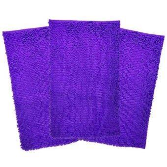 พรมเช็ดเท้ากักฝุ่นผ้านาโนตัวหนอน พื้นยางกันลื่น ขนาด 50x80 cm. สีม่วง (ขนาดใหญ่พิเศษ) 3 ผืน