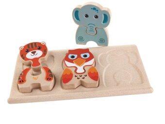PlanToys ของเล่นไม้ ANIMAL PUZZLEตัวต่อรูปสัตว์