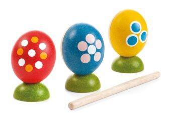 PlanToys ไข่เคาะจังหวะ ของเล่นไม้ เครื่องดนตรี เสริมสร้างพัฒนาการเด็ก ทางด้านการฟัง