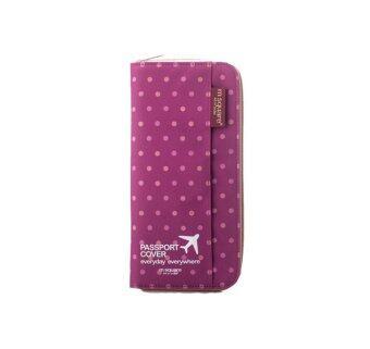 Productdd Passport Holder Passport cover กระเป๋าใส่หนังสือเดินทาง Polkadot (Purple)