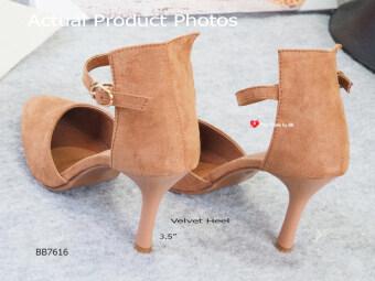 รองเท้าส้นสูงหนังกลับรัดข้อ CODE : BB7616 Velvet Heel Shoes สีน้ำตาลBrown