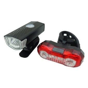 RAYPAL ไฟจักรยาน ชาร์จไฟได้ 300 Lumensรุ่น RPL-2255+RPL-2265 (สีดำ/สีแดง)