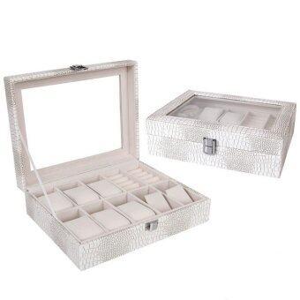 Room Story กล่องใส่นาฬิกา Leather WatchJewelry Box (สีขาว ลายจระเข้เขียว /เบจ)