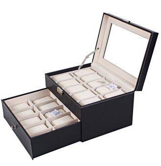Room Story กล่องใส่นาฬิกา Leather Watch Box สำหรับ 20 เรือน (สีดำ-เบจ)