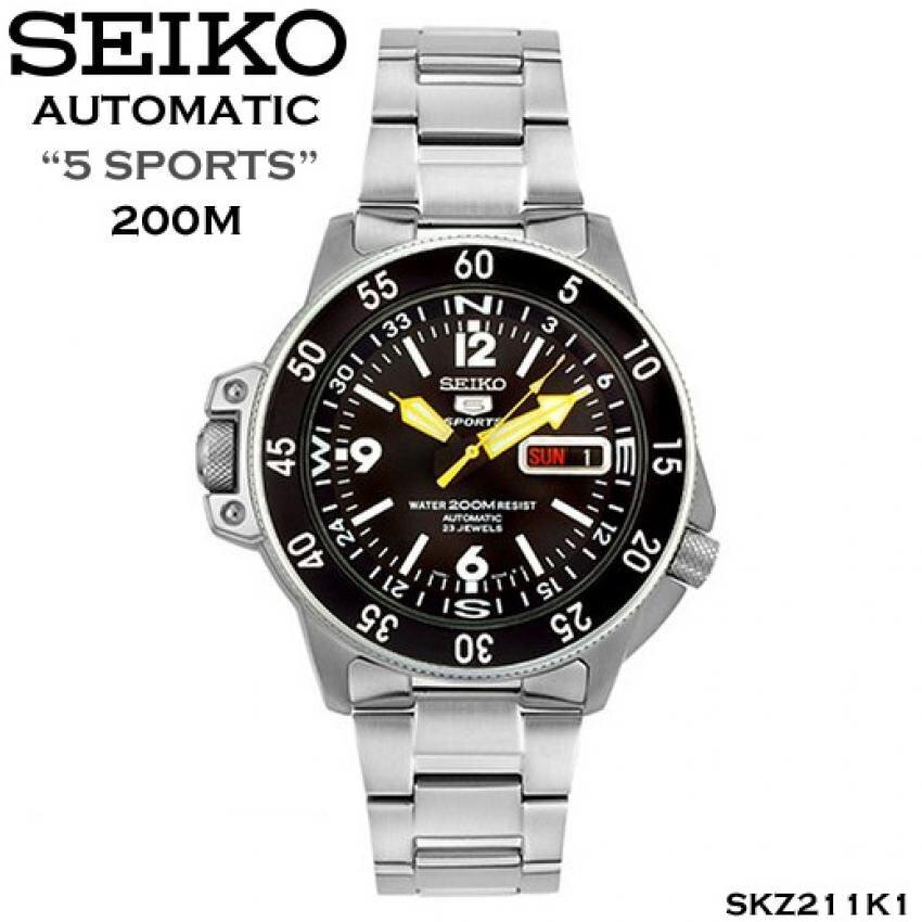 การใช้งาน  มุกดาหาร Seiko นาฬิกาข้อมือผู้ชาย สีเงิน สายสแตนเลส รุ่น SKZ211K1