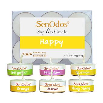 SenOdos กลิ่นแห่งความสุข Emotional Scented Soy Candles Aroma Happy เทียนหอมอโรม่า ขนาดพกพา ขนาดทดลอง(มะกรูด เจอร์เรเนียม เลมอน ส้ม มะลิ กระดังงา)