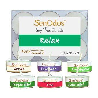 SenOdos กลิ่นสงบพักผ่อน Emotional Soy Candles Aroma Relax เทียนหอมอโรม่า ขนาดพกพา ขนาดทดลอง (ลาเวนเดอร์ ยูคาลิปตัส เปปเปอร์มินต์ มะลิ สเปียร์มินต์ กุหลาบ)