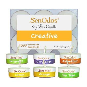SenOdos กลิ่นสร้างสรรค์ Emotional Scented Soy Candles Aroma Creative เทียนหอมอโรม่า ขนาดพกพา ขนาดทดลอง (มะกรูด แครี่เสจ เกรบฟรุต เลมอน ส้ม ทรีทีออยล์)