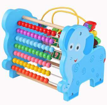 SK-Toys ชุดรางลูกคิดพร้อมขดลวดกิจกรรม ลายช้าง (สีฟ้า)