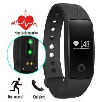 smile C วัดอัตราการเต้นหัวใจ ฟิตเนส นาฬิกาสุขภาพอัจฉริยะ ติดตามกิจกรรม Heart Rate Monitor Wristband Fitness Tracker รุ่น ID107HR(Black)