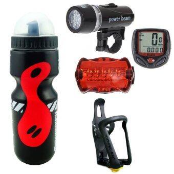 Sunding ไมค์จักรยาน(สีแดง)+ไฟชุดจักรยานรุ่น WJ-101(สีดำ)+กระบอกน้ำ 650 มล.สีดำ+ขาจับ TMD05B สีดำ