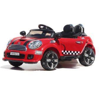 The paparin รถเด็กไฟฟ้า รถเด็กเล่น รถแบตเตอรี่ไฟฟ้า รถบังคับ รุ่น มินิคูเปอร์ 2มอเตอร์.(แดง)