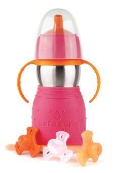 The safe sippy 2 ขวดหัดดื่ม แสตนเลสสตีล พร้อมหลอดดูดน้ำ สีชมพู