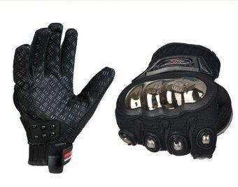 ถุงมือบิ๊กไบ้ค์ Big Bike ถุงมือมอเตอร์ไซค์ ถุงมือขับรถ Mad Bike การ์ดไทเทเนี่ยม สีดำ