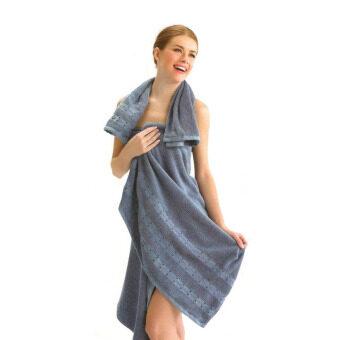 Tulip ผ้าเช็ดตัว ผ้าขนหนู คอตตอน 100 เซต 2 ชิ้น สีฟ้าเทา (ผ้าเช็ดตัว+เช็ดหน้า)