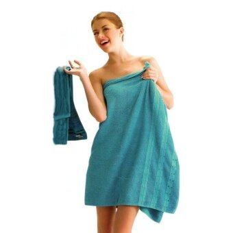 Tulip ผ้าเช็ดตัว ผ้าขนหนู คอตตอน 100 เซต 2 ชิ้น สีน้ำทะเล (ผ้าเช็ดตัว+เช็ดหน้า)