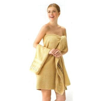 Tulip ผ้าเช็ดตัว ผ้าขนหนู คอตตอน 100 เซต 2 ชิ้น สีทอง (ผ้าเช็ดตัว+เช็ดหน้า)