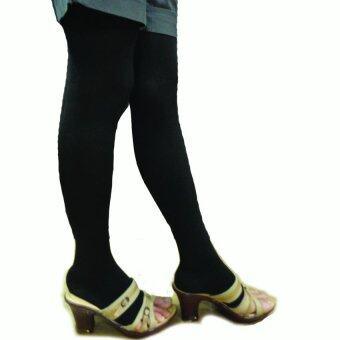 Venisof Black ถุงน่องรักษาเส้นเลือดขอด สีดำ แบบต้นขา ปลายเท้าเปิดopen แรงรัด 15-20 mmHg