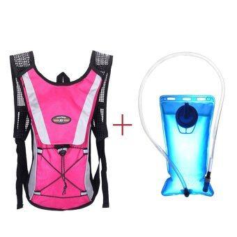 Water Bladder Bag Backpack+Hydration Packs Hiking Camping 2L Hot Pink