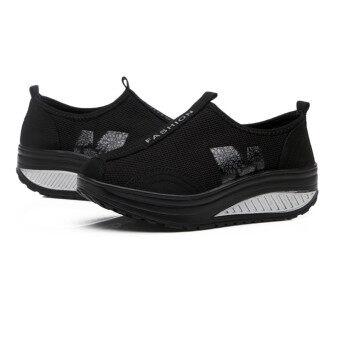 Women's Fabric Breathable Platforms Wedges Sandals Shoes Black