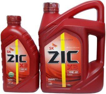 ZIC X3 SAE 15W-40นํ้ามันหล่อลื่นเครื่องยนต์เบนซิน สูตรกึ่งสังเคราะห์(4ลิตร+ฟรี1ลิตร)