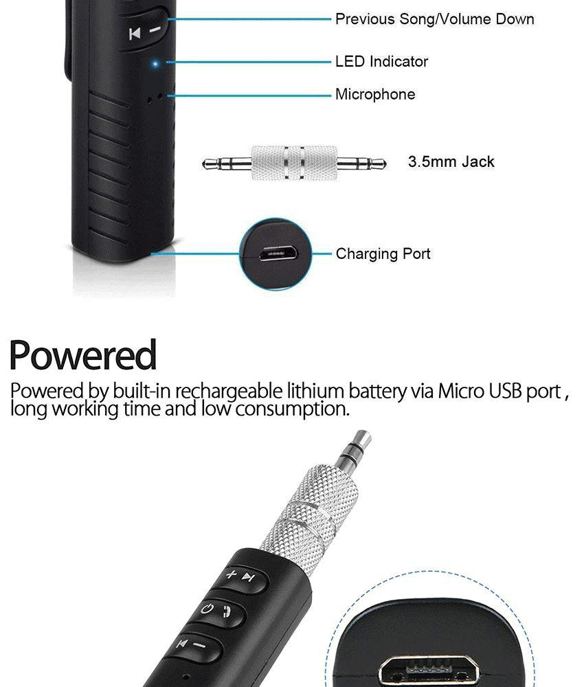 White Audio Receiver Bluetooth4.1 Receiver 3.5mm Jack Music Adapter For Speaker